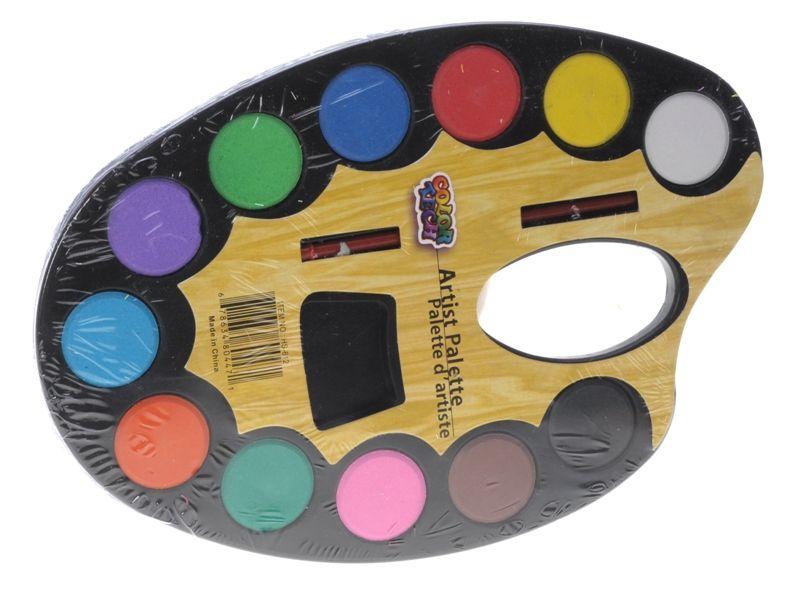vodové barvy na paletě 12 barev