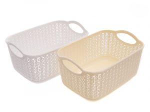 Plastový košík inspirován vzorem z pletení 6l 20x29x15 cm Unihouse