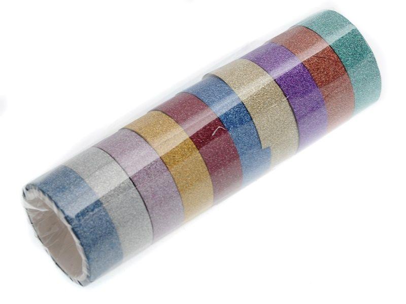 10 ks dekorační lepicí pásky se třpytkami- 3 m x 15 mm Teamstar
