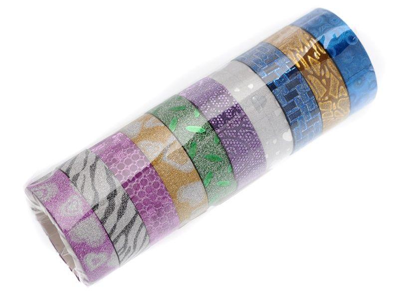 10 ks dekorační lepicí pásky se třpytkami- 5 m x 15 mm Teamstar