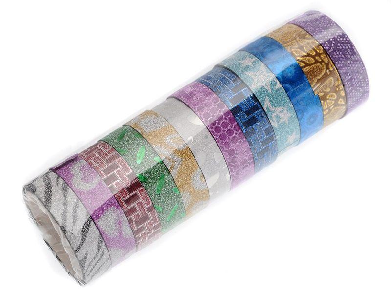 12 ks dekorační lepicí pásky se třpytkami- 3 m x 12 mm Teamstar