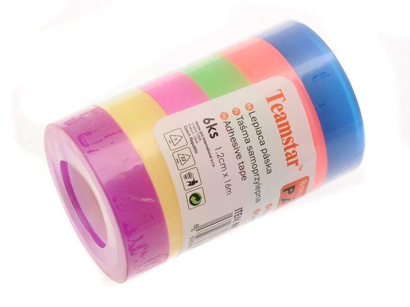 Lepicí páska, 12mm x 16m, 6ks, průhledná, barevná Teamstar