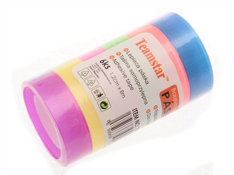 Lepicí páska, 12mm x 8m, 6ks, průhledná, barevná Teamstar
