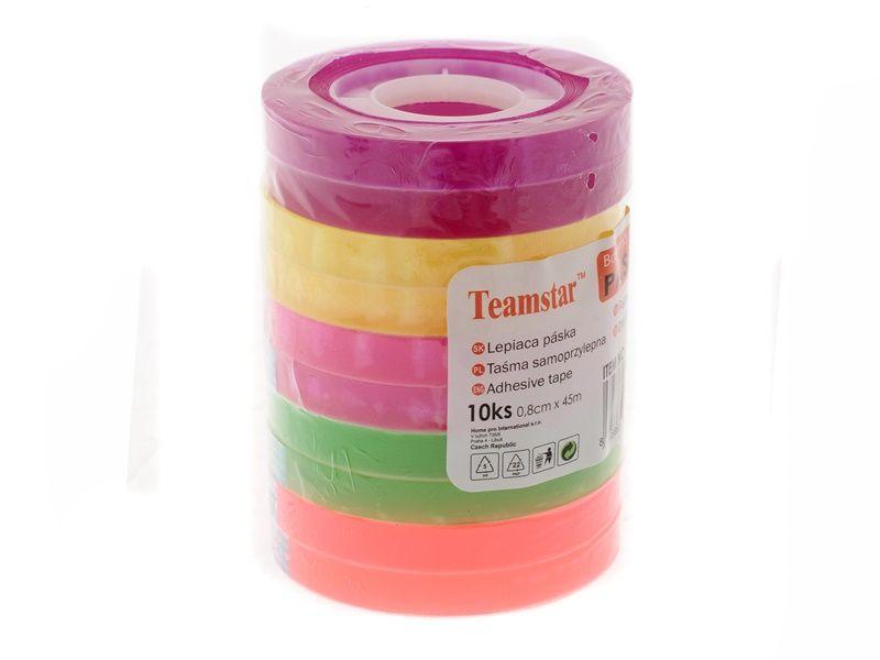 Lepicí páska, 8mm x 45m, 10ks, průhledná, barevná Teamstar