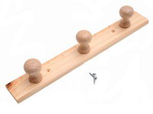 Dřevěný nástěnný věšák 3 ramenný 36 cm