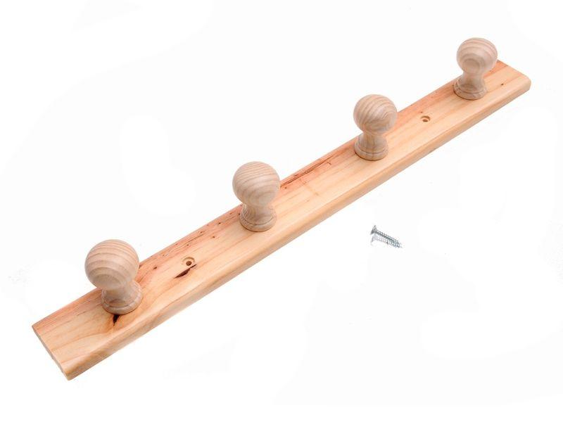 Dřevěný nástěnný věšák 4 ramenný 36 cm Unihouse