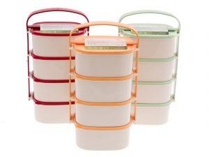 plastový jídlonosič 4 patrový 4 x 1,15 l hranatý