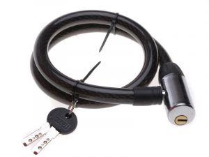 černý zámek na kolo - lanko, 80cm, 2 klíče