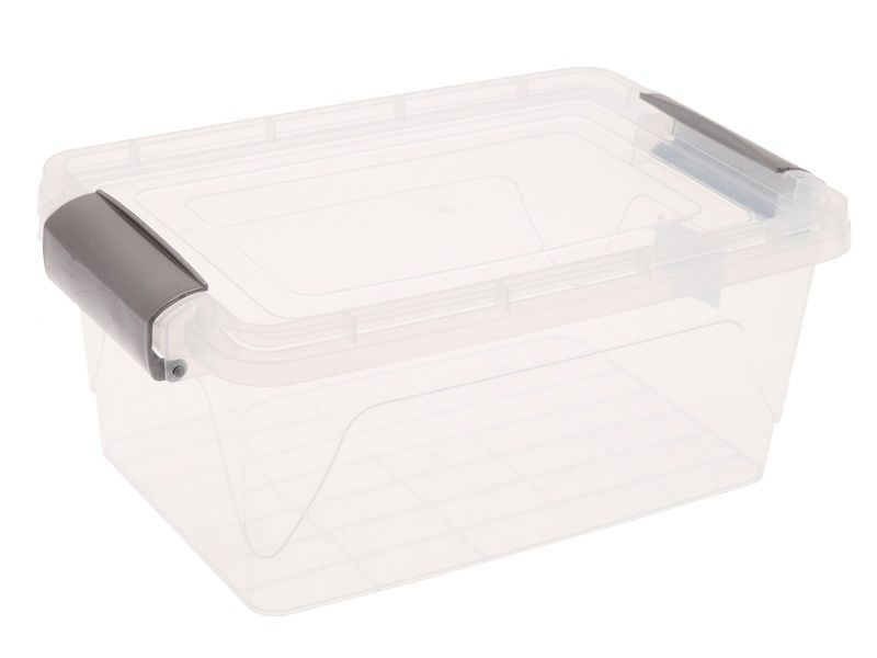 Průhledný úložný box s víkem na klip 3,5L Unihouse