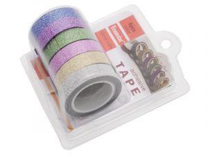 6 ks dekorační lepicí pásky se třpytkami- 5 m x 10 mm