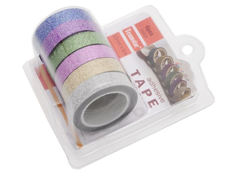 6 ks dekorační lepicí pásky se třpytkami- 5 m x 10 mm Teamstar