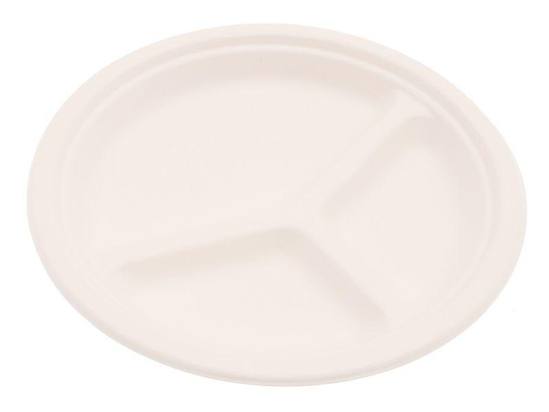 Kulatý talíř 3-dílný 26cm z cukrové třtiny 12ks Smart Cook