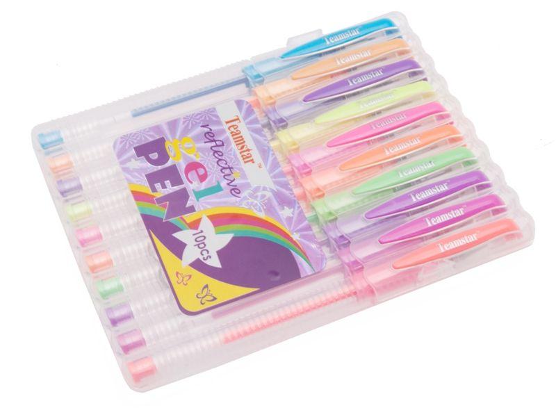 zvýrazňovací gelové pero 10ks - neónové barvy Teamstar