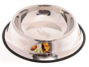 Nerez miska pro psy s gumovou hranou proti převrhnutí 30 cm