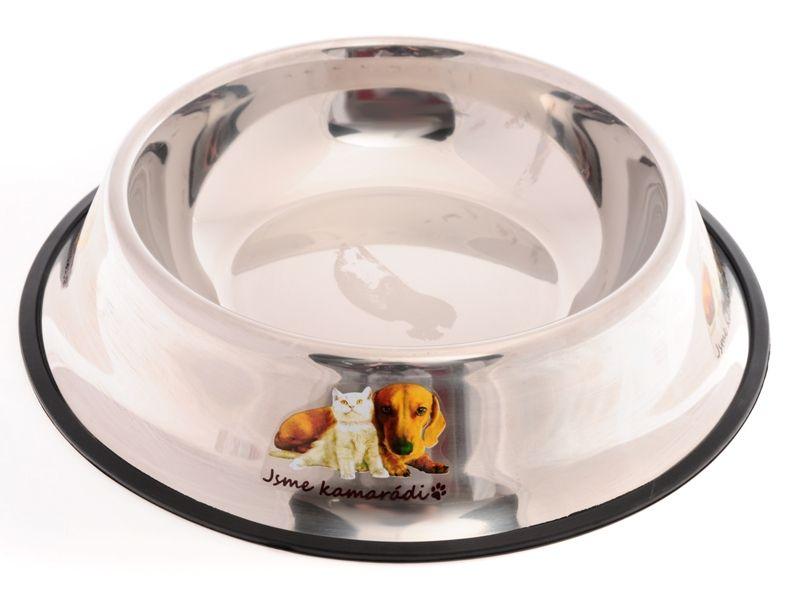 Nerez miska pro psy s gumovou hranou proti převrhnutí 30 cm Zoomax