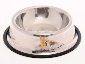 Nerez miska pro psy s gumovou hranou proti převrhnutí 18 cm