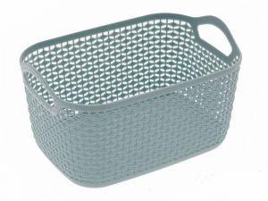 Plastový košík inspirován vzorem z pletení 17.5 x 12 x 8.5 cm Unihouse